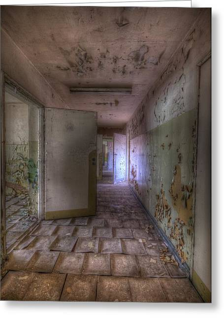 Coridoor Greeting Cards - Tile corridor  Greeting Card by Nathan Wright