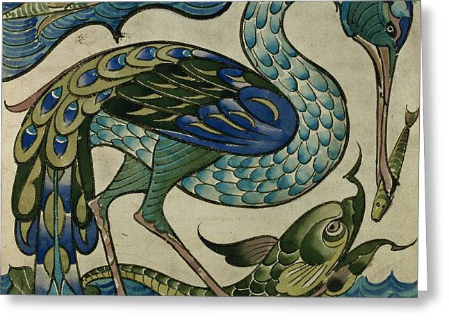 Blue Green Water Ceramics Greeting Cards - Tile design of heron and fish Greeting Card by Walter Crane