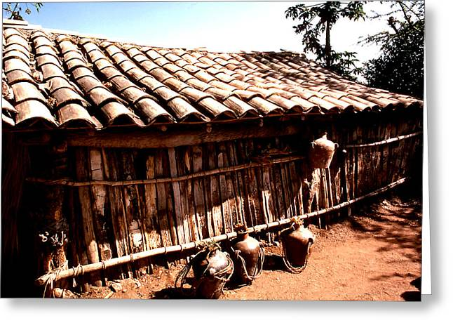 Water Jug Greeting Cards - Tile Roofed Shed Greeting Card by Robert  Rodvik