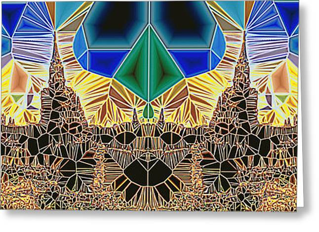 Geometric Design Greeting Cards - Tiled Ruins Blue Gold Pano Greeting Card by Robert Pierce