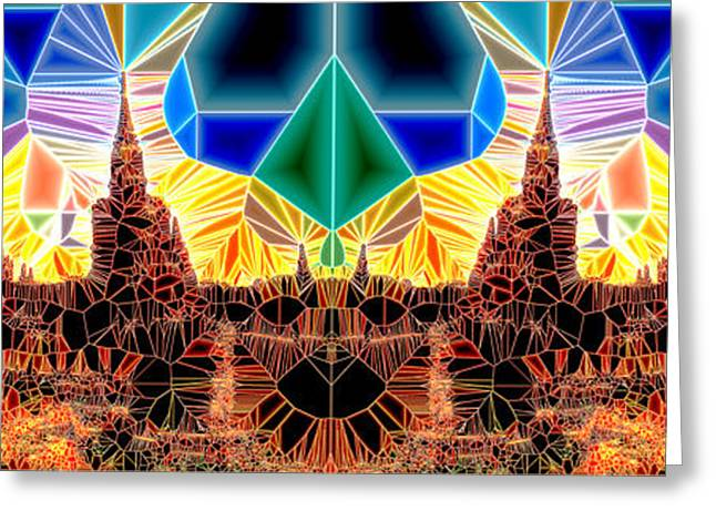 Geometric Digital Art Greeting Cards - Tiled Ruins Black Pano Greeting Card by Robert Pierce