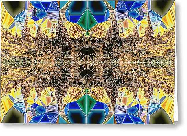 Neoteric Greeting Cards - Tiled Ruins Blue Gold Greeting Card by Robert Pierce