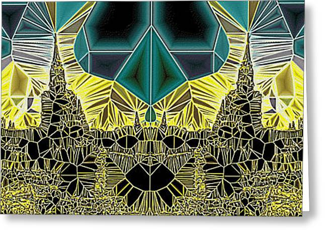 Geometric Design Greeting Cards - Tiled Ruins Green Gold Pano Greeting Card by Robert Pierce