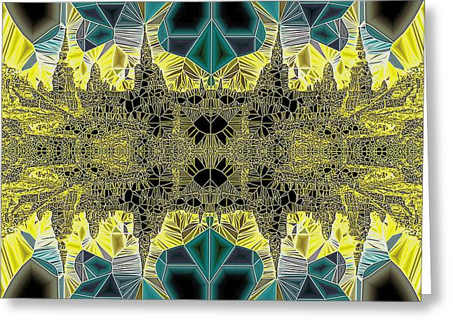 Neoteric Greeting Cards - Tiled Ruins Green Gold Greeting Card by Robert Pierce