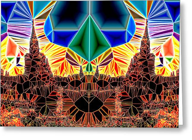 Geometric Design Greeting Cards - Tiled Ruins Red Gold Pano Greeting Card by Robert Pierce