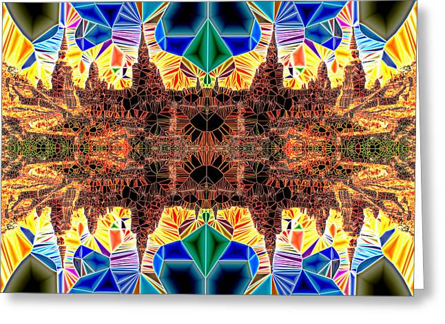 Neoteric Greeting Cards - Tiled Ruins Red Gold Greeting Card by Robert Pierce