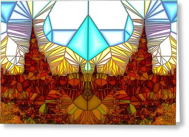 Geometric Design Greeting Cards - Tiled Ruins White Pano Greeting Card by Robert Pierce