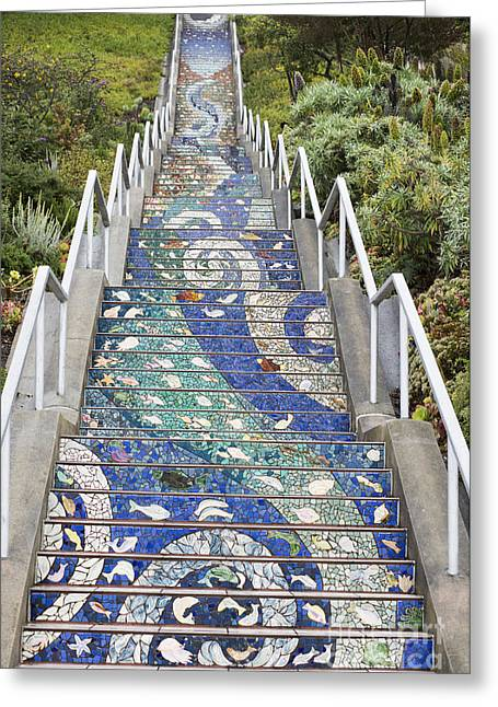 Tiled Greeting Cards - Tiled Steps Greeting Card by David Bearden