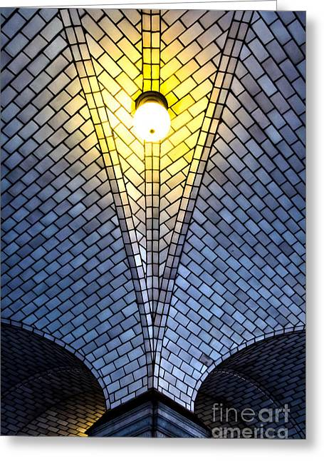 City Lights Greeting Cards - Tiled Vaulting and Light Greeting Card by James Aiken