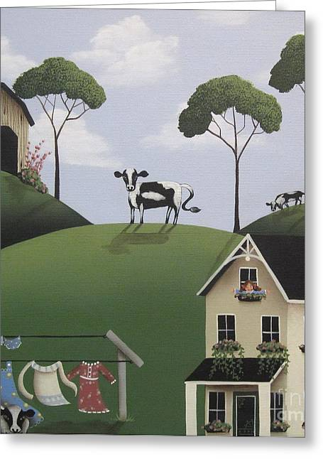 Naive Art Greeting Cards - Till The Cows Come Home Greeting Card by Catherine Holman