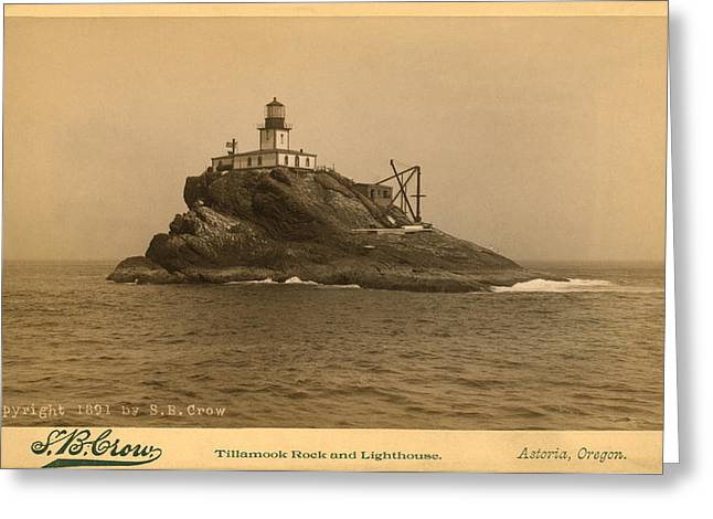 Tillamook Rock Lighthouse Greeting Card by Jerry McElroy - Public Domain Image