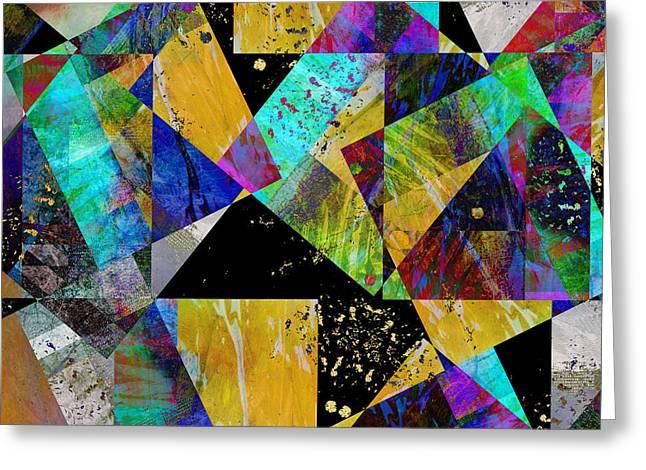 Geometric Digital Art Greeting Cards - Tilt -abstract - art Greeting Card by Ann Powell