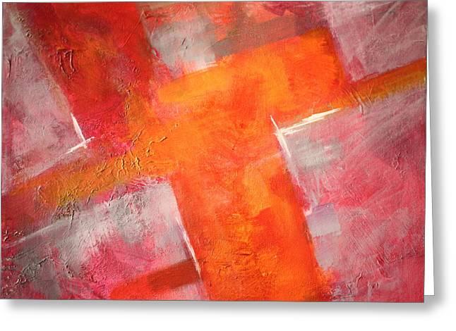 Tangerine Greeting Cards - Tilt Greeting Card by Nancy Merkle