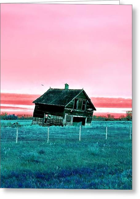 Abandoned House Pastels Greeting Cards - Tilt Greeting Card by Shawn Lacey