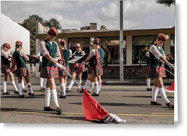 Marching Band Greeting Cards - Tilted Kilt Greeting Card by Shukis Lockwood