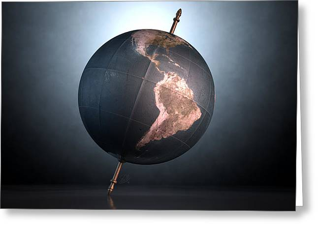 Longitude Greeting Cards - Tilted World Globe Greeting Card by Allan Swart