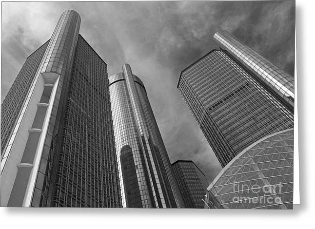 Renaissance Center Greeting Cards - Tilting Towers Greeting Card by Ann Horn