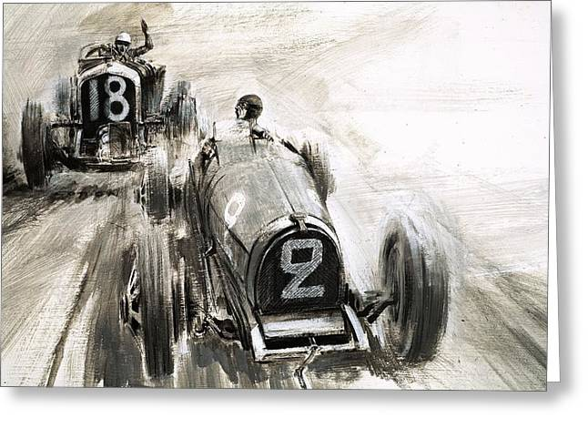 Tim Greeting Cards - Tim Birkin driving at Brooklands Greeting Card by Graham Coton