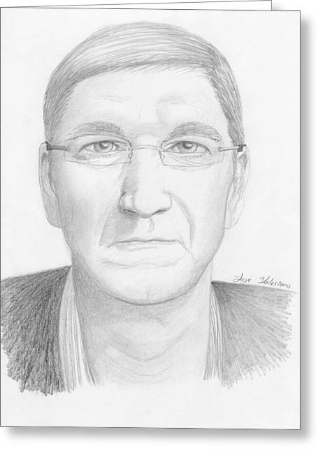 Cook Drawings Drawings Greeting Cards - Tim Cook Greeting Card by Jose Valeriano