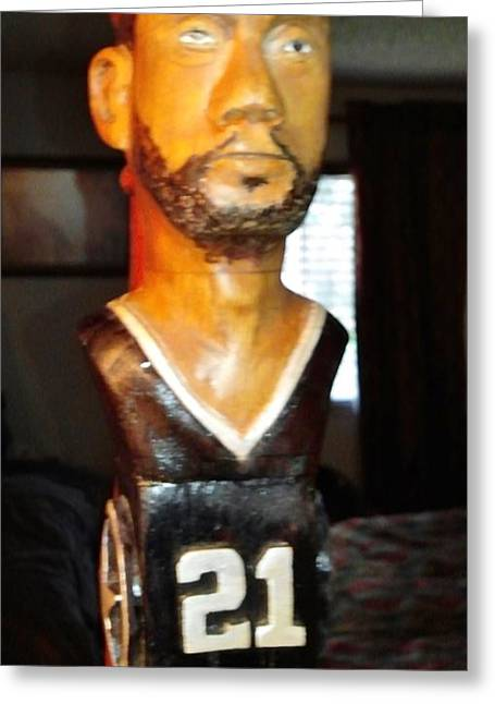 Basketballs Sculptures Greeting Cards - Tim Duncan Close Up Greeting Card by Michael Pasko