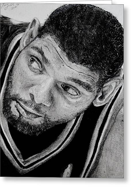 Nba Champs Greeting Cards - Tim Duncan Drawing The Champ is here Greeting Card by Tony Orcutt