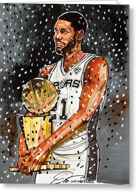 Nba Champion Greeting Cards - Tim Duncan NBA Champion Greeting Card by Dave Olsen