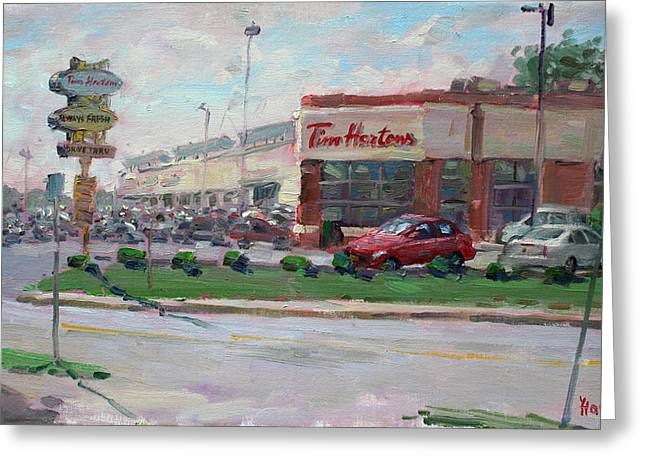 Tim Hortons Greeting Cards - Tim Hortons by Niagara Falls Blvd Where I have my Coffee Greeting Card by Ylli Haruni