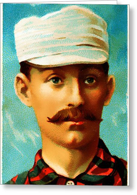 Baseball Art Photographs Greeting Cards - Tim Keefe New York Metropolitans Baseball Card 0128 Greeting Card by Wingsdomain Art and Photography