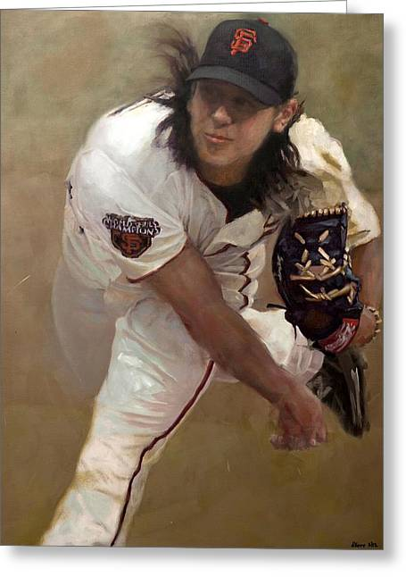 Tim Lincecum Changeup Greeting Card by Darren Kerr