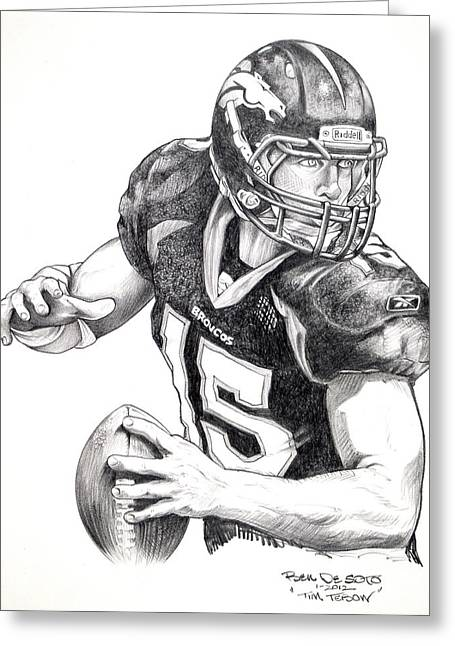 National Football League Drawings Greeting Cards - Tim Tebow Greeting Card by Ben De Soto