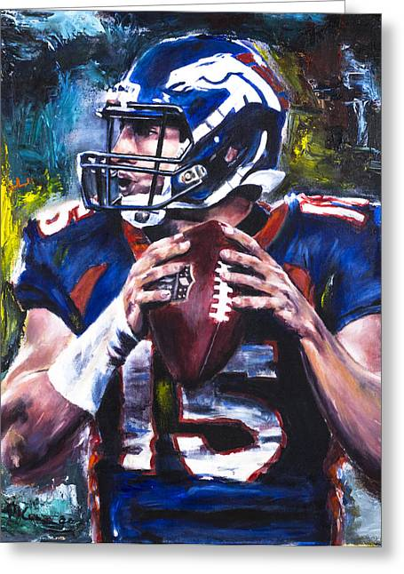 Broncos Greeting Cards - Tim Tebow Greeting Card by Mark Courage