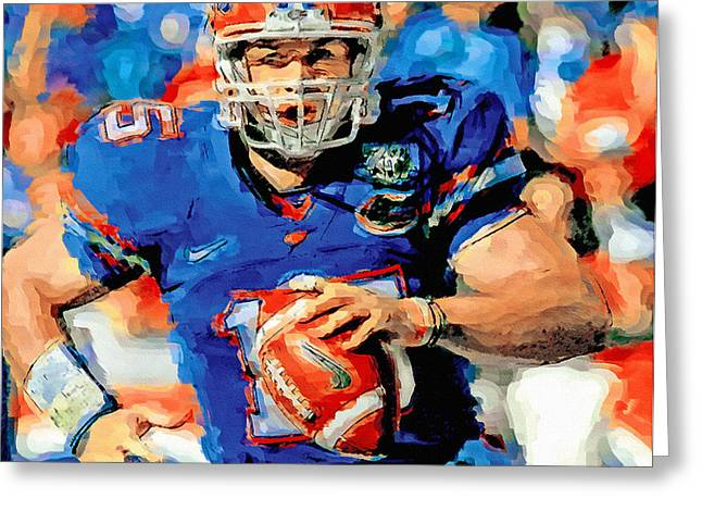 American Football Paintings Greeting Cards - Tim Tebow Mr. Florida Gator Greeting Card by John Farr