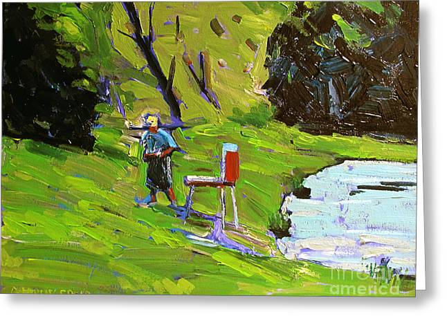 Timothy Greeting Cards - TIM the PLEIN AIR PAINTER after Monet Greeting Card by Charlie Spear