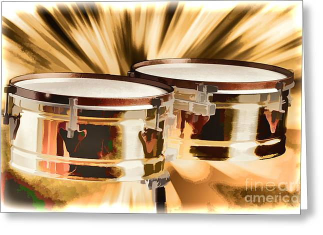 Timbale Drums For Latin Music Painting In Color 3326.02 Greeting Card by M K  Miller