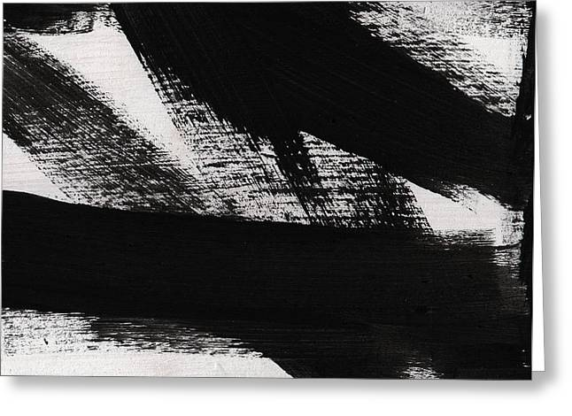 Bedroom Art Greeting Cards - Timber 2- horizontal abstract black and white painting Greeting Card by Linda Woods