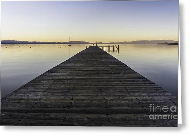 Boats At Dock Greeting Cards - Timber Cove Greeting Card by Mitch Shindelbower