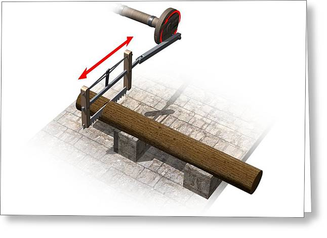 Saw Greeting Cards - Timber saw, artwork Greeting Card by Science Photo Library