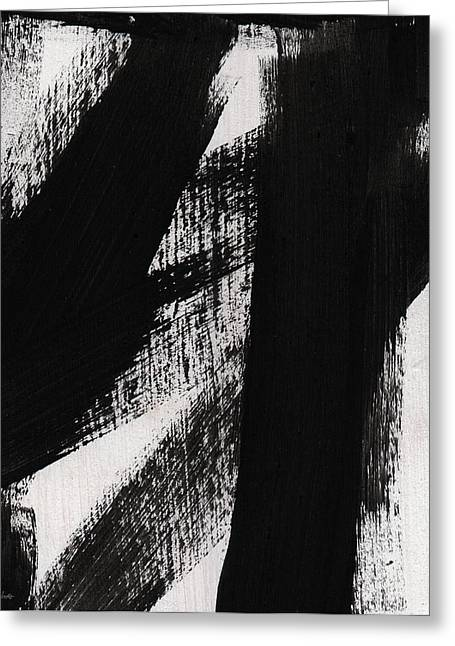 Abstract Shapes Greeting Cards - Timber- vertical abstract black and white painting Greeting Card by Linda Woods