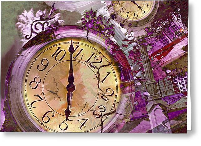 Print On Canvas Greeting Cards - Time 3 Greeting Card by Claudia  Ellis