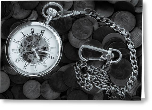 Pocket Watch Greeting Cards - Time and money Greeting Card by Bob Orsillo