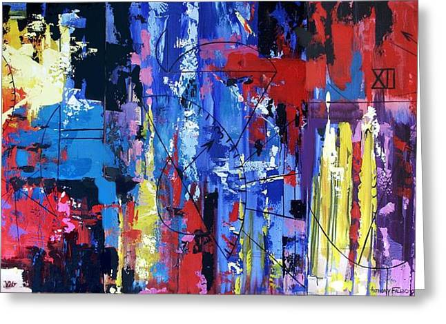 Abstract Posters Greeting Cards - Time Greeting Card by Anthony Falbo