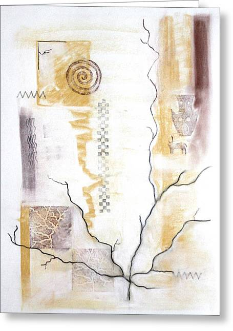 Eternal Flow Paintings Greeting Cards - Time Branching Greeting Card by Diana Perfect