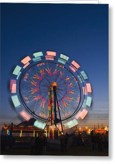 Lustrous Greeting Cards - Time Delay Ferris Wheel Greeting Card by Corey Hochachka