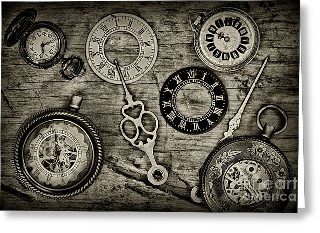 Watch Fob Greeting Cards - Time Explored in Black and White Greeting Card by Paul Ward
