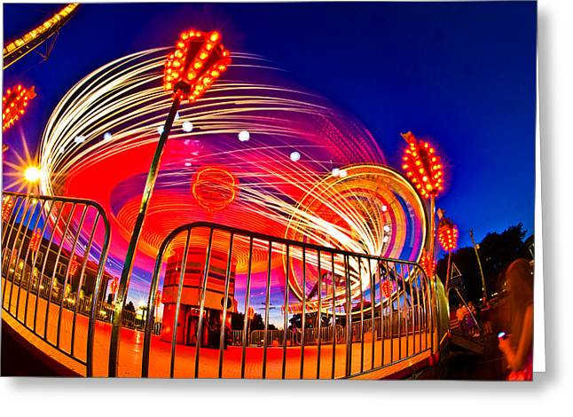 Arts Culture And Entertainment Greeting Cards - Time Exposure Of A Carnival Ride Greeting Card by Panoramic Images