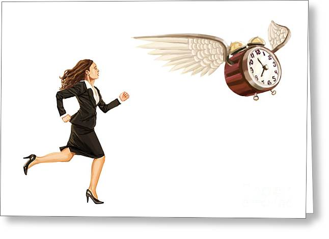 Overwork Greeting Cards - Time Flies Biological Clock Greeting Card by Spencer Sutton