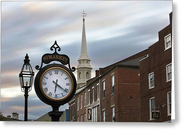 New England Village Greeting Cards - Time Flies Greeting Card by Eric Gendron