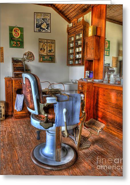 Barberchair Greeting Cards - Time for a Cut And Shave II - Barber Greeting Card by Lee Dos Santos
