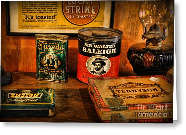 Tobacconist Greeting Cards - Time for a Smoke Greeting Card by Lee Dos Santos