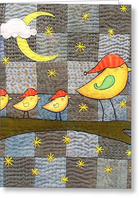 Whimsical Tapestries - Textiles Greeting Cards - Time For Bed Greeting Card by Julie Bull